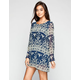 BLU PEPPER Boho Print Womens Tunic Dress