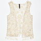 FULL TILT Fringe Trim Girls Crochet Vest