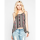 CHLOE K Boho Linear Print Lattice Back Tank