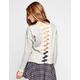 CHLOE K Crochet Back Womens Drop Shoulder Top
