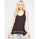SOCIALITE Ditsy Floral Print Womens Lace Inset Tank