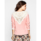 CHLOE K Crochet Back Womens Sweatshirt