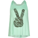 FULL TILT Peace Sign Girls Crochet Back Sharkbite Tank