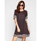 ANGIE Border Print Cold Shoulder Dress