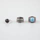 FULL TILT 3 Piece Stackable Stone/Wide Text Rings