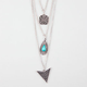 FULL TILT 3 Row Teardrop Stone/Arrow Necklace