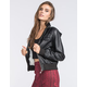 YMI Womens Quilted Faux Leather Jacket
