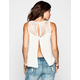 FULL TILT Lace Inset Womens Split Back Tank
