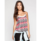 FULL TILT Tribal Rose Womens Lace Trim Tank