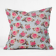 DENY DESIGNS Pink Rose Throw Pillow