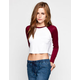 LILY WHITE Womens Crop Baseball Tee