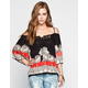 ANGIE Boho Print Womens Cold Shoulder Top