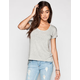 LIFE CLOTHING CO. Step Hem Womens Roll Cuff Tee
