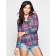 ALI & KRIS Traditional Plaid Womens Flannel Shirt