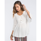 FULL TILT Crochet Inset Womens Poet Sleeve Top