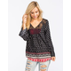 SOCIALITE Border Print Womens Peasant Tunic