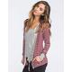 FULL TILT Essential Womens Cozy Stripe Zip Front Hoodie