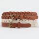 2 Piece Crochet/Braided Skinny Faux Leather Belts