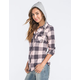 POLLY & ESTHER Two Tone Buffalo Womens Hooded Flannel Shirt