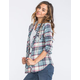 POLLY & ESTHER Womens Hooded Flannel Shirt