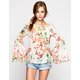 MIMI CHICA Floral Print Womens Bell Sleeve Top