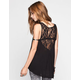 H.I.P. Lace Back Womens Hi Low Tank