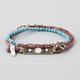 FULL TILT 3 Piece Braided/Turquoise/Feather Bracelets
