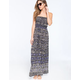 ANGIE Boho Medallion Print Smocked Maxi Dress
