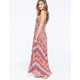 ANGIE Mietered Floral Print Smocked Maxi Dress