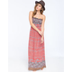 ANGIE Tile Boho Print Smocked Maxi Dress