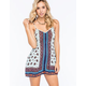 ANGIE Split Border Print Crochet Trim Womens Romper
