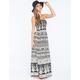 ANGIE Boho Print Smocked Maxi Dress