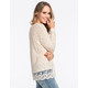 WOVEN HEART Lace Trim Womens Sweater