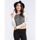 LILY WHITE Floral Sleeve Womens Crop Baseball Tee
