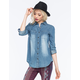 FULL TILT Light Wash Chambray Womens Shirt