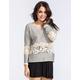 BLU PEPPER Crochet Stripe Womens Top