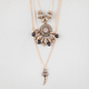 FULL TILT 3 Row Disc/Tassel/Tooth Necklace