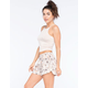 B.BOOM Floral Crochet Trim Womens Shorts