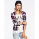 POLLY & ESTHER Plaid Womens Challis Boyfriend Shirt