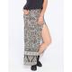FULL TILT Side Slit Border Print Maxi Skirt