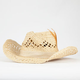 Open Weave Feather Womens Cowboy Hat