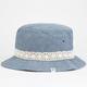 Chambray Crochet Trim Womens Bucket Hat