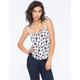 CHLOE K Ditsy Print Cage Front Womens Cami