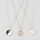 FULL TILT 3 Piece Peace/Flower/Yin Yang Necklaces