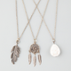 FULL TILT 3 Piece Dreamcatcher/Stone/Feather Necklaces