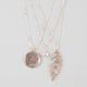 FULL TILT 3 Piece Tree/Rhinestone/Leaf Necklaces