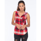 POLLY & ESTHER Hooded Challis Womens Flannel Top