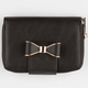 Faux Leather Bow Zip Wallet