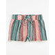 FULL TILT Ethnic Stripe Crochet Trim Girls Shorts