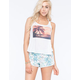FULL TILT Tropical Palm Crochet Back Womens Tank